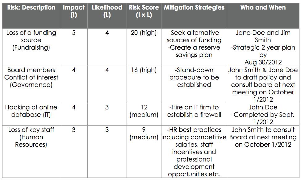 risk assessment matrix - Capacity Builders website CMS admin